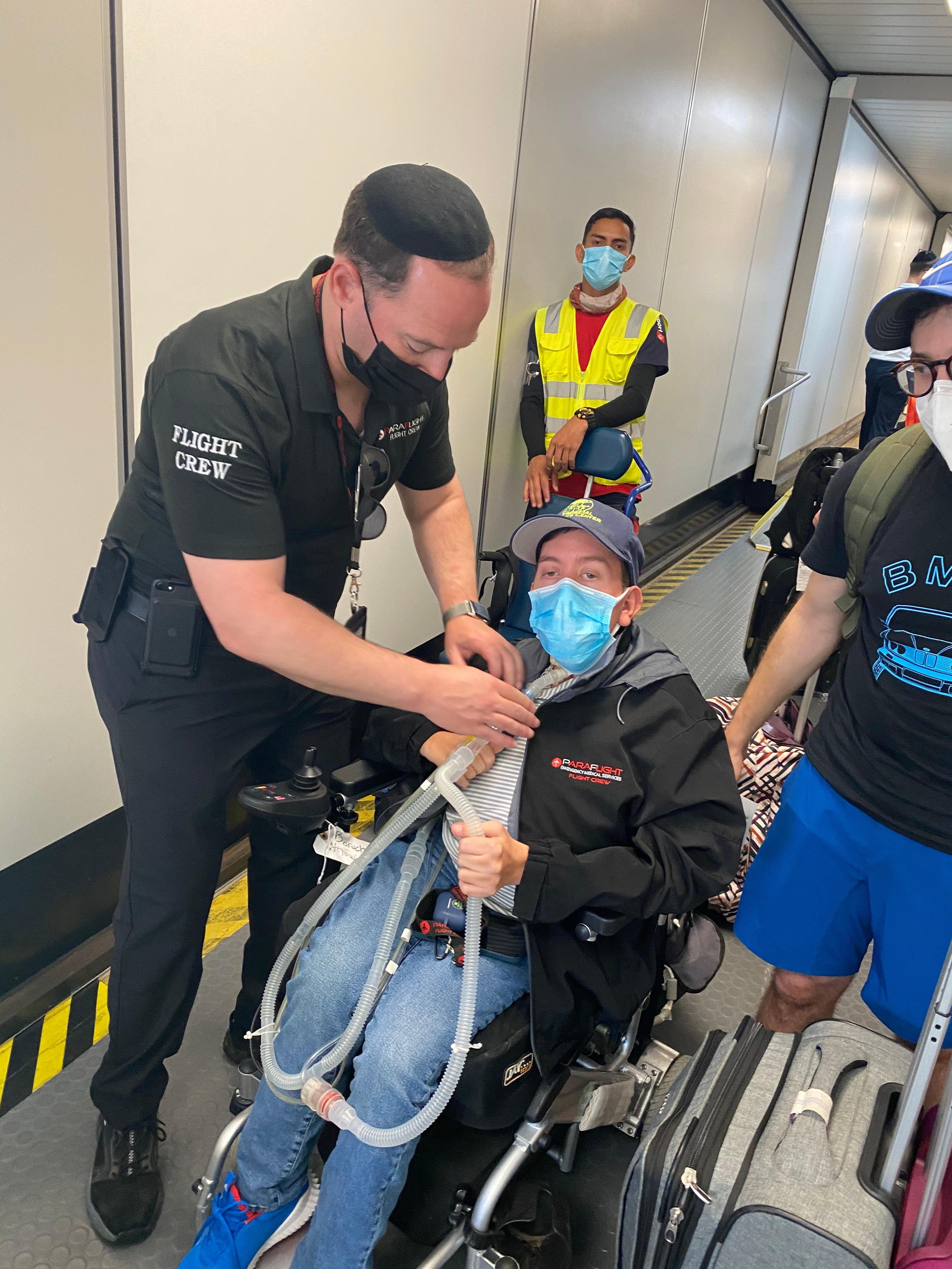 Man with disabilities on a jet bridge