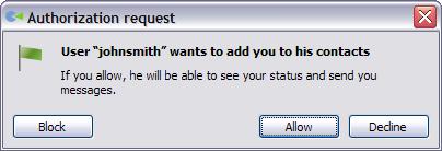 Authorization request dialog