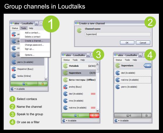 Group channels in Loudtalks