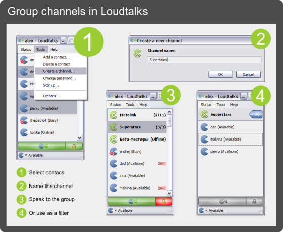 Group channels in Loudtalks